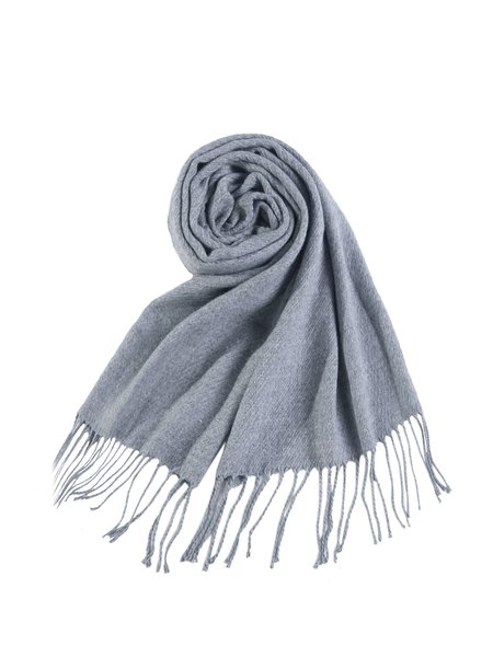 Light Gray Solid Casual Scarf