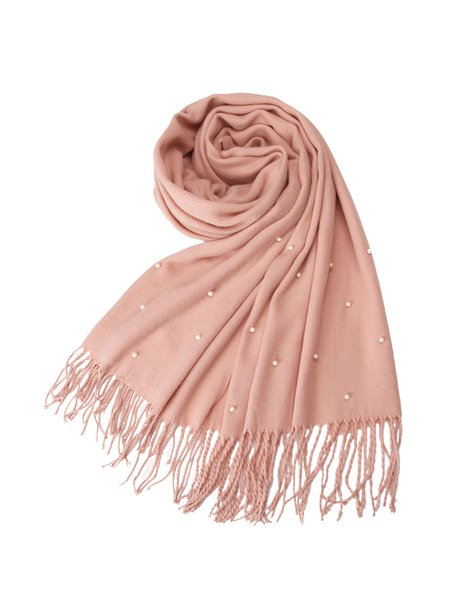 Pink Solid Casual Scarf