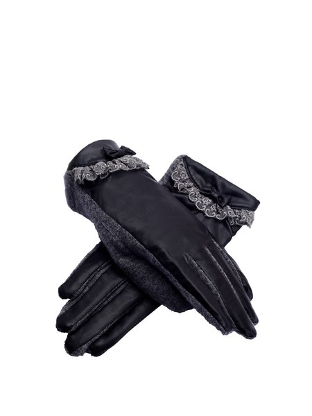 Black Solid Gloves