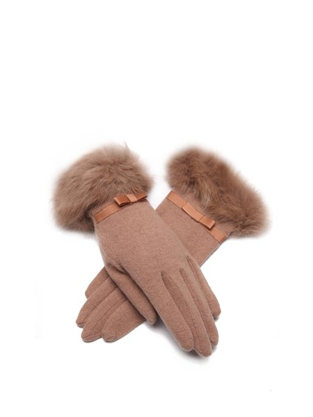 Camel Casual Solid Wool Gloves