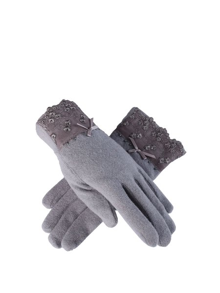 Gray Casual Wool Solid Gloves