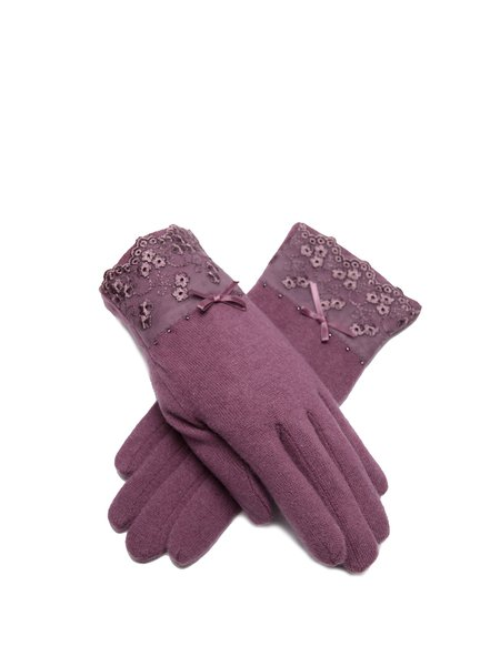 Purple Casual Solid Gloves