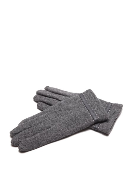 Gray Casual Wool Gloves