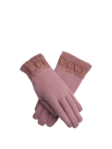 Pink Casual Solid Gloves