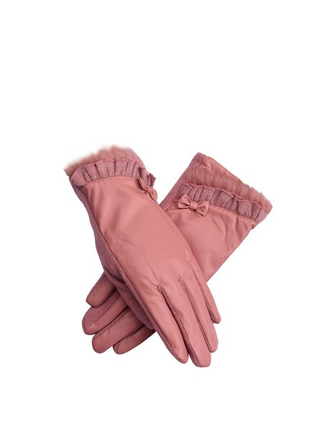 Pink Solid Casual Gloves