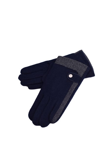 Blue Casual Wool Gloves