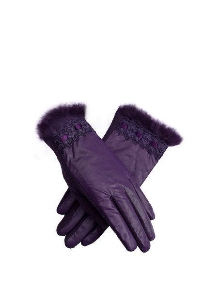 Purple Solid Casual Gloves