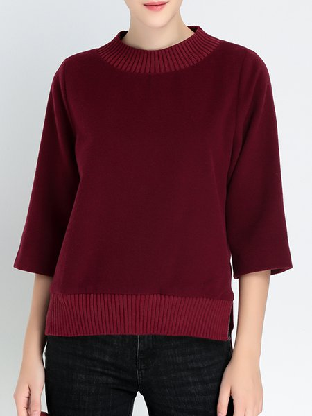 Wine Red Knitted Wool Blend Stand Collar 3/4 Sleeve Sweater
