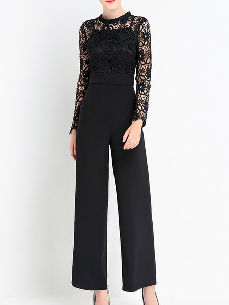 Black Solid Crew Neck Guipure Lace Elegant Jumpsuit
