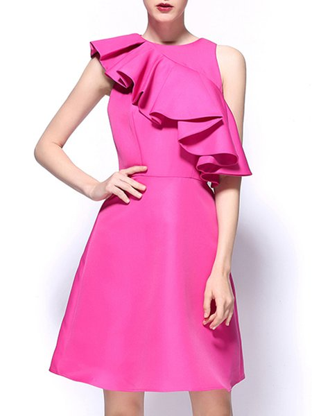 Fuchsia Ruffled A-line Polyester Sleeveless Party Dress