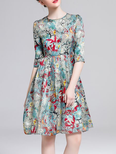 Blue A-line Crew Neck Printed Elegant Midi Dress