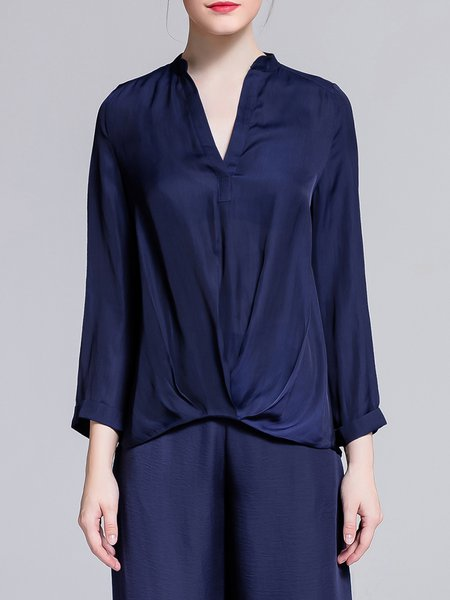 Royal Blue H-line Long Sleeve Blouse