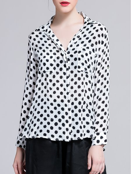 White Shirt Collar Simple Polka Dots Silk Blouse