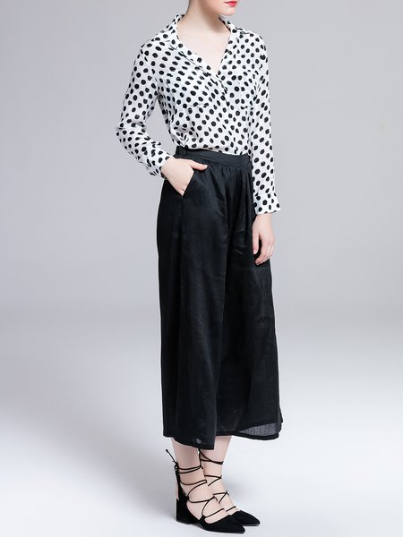 White Shirt Collar Simple Polka Dots Silk Blouse - StyleWe.com