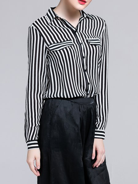 Black Shirt Collar Stripes Silk Simple Blouse