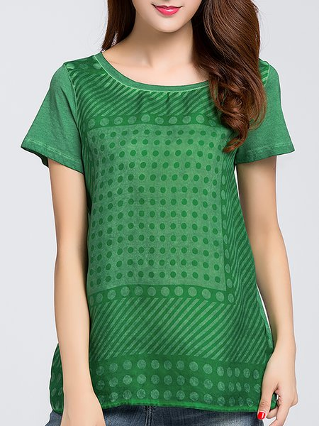 Green Cotton Short Sleeve Crew Neck Short Sleeved Top