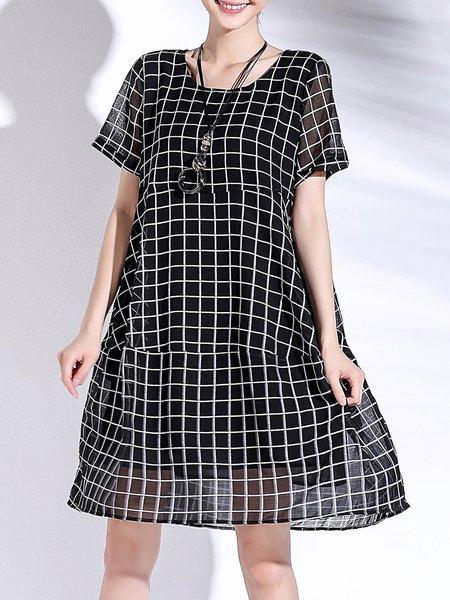 Black Pockets Short Sleeve Midi Dress