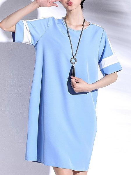 Light Blue Color-block Crew Neck Simple Midi Dress