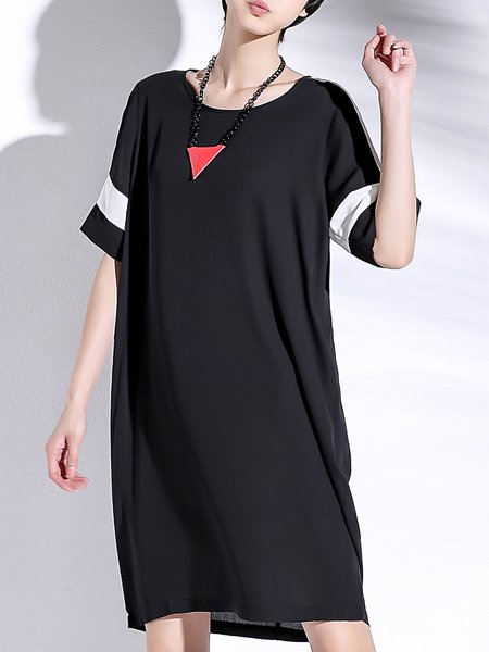 Black Color-block Short Sleeve Midi Dress