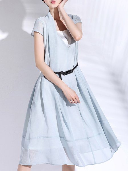 Green Two Piece Polyester Short Sleeve Midi Dress