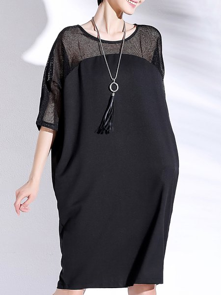 Casual Crew Neck Half Sleeve Polyester Midi Dress