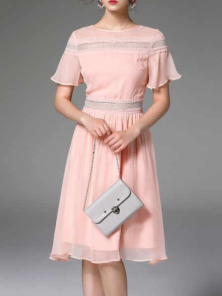 Pink Paneled Crew Neck Girly Silk Midi Dress
