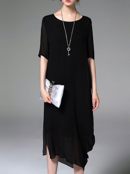 Black Short Sleeve Plain Crew Neck Shift Midi Dress
