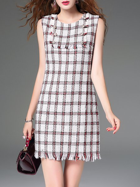 Sleeveless Fringed Beaded Checkered/Plaid Sheath Mini Dress
