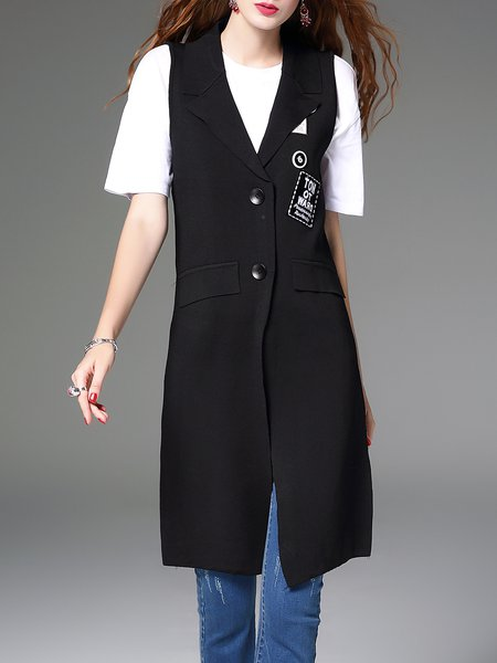 Black Work Letter Sleeveless Pockets Knitted Vests And Gilet