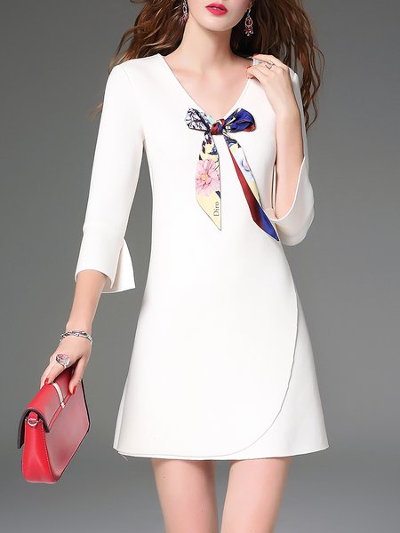 White V Neck Simple Plain Mini Dress