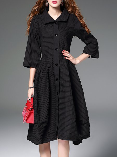 Black A-line Shirt Collar Buttoned 3/4 Sleeve Midi Dress