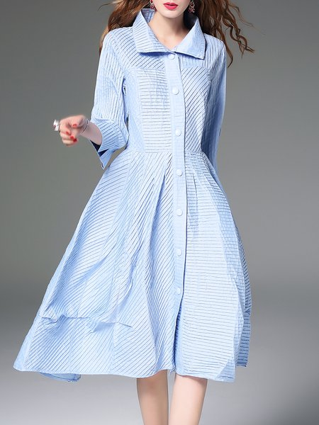 Light Blue 3/4 Sleeve Buttoned Cotton Midi Dress