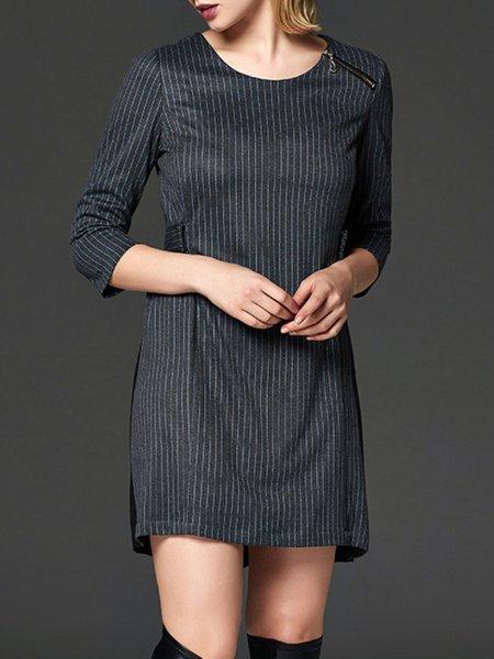Gray Stripes 3/4 Sleeve Polyester Mini Dress