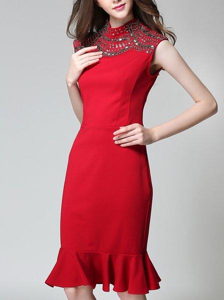 Red Elegant Beading Sleeveless Flounced Midi Dress