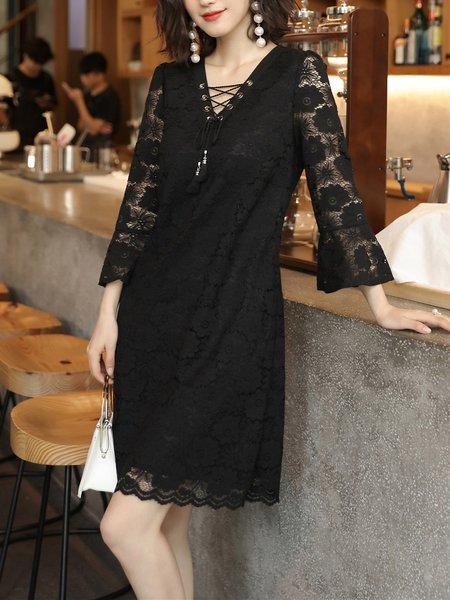 Black Lace Ruffle Sleeves Lace-up Midi Dress