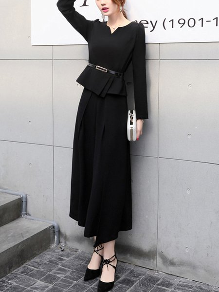 Elegant Two Pieces Top With Wide-leg Pants Set