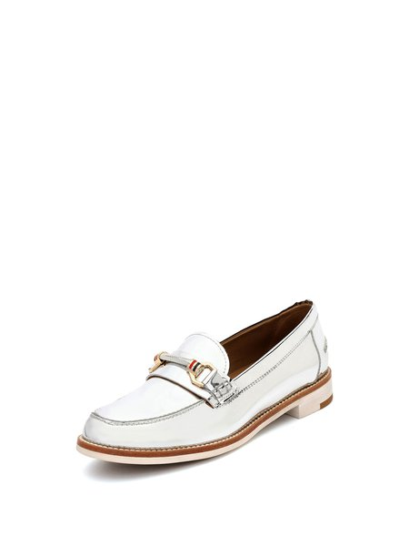 Silver Casual Spring/Fall Buckle Microfiber Low Heel Loafers