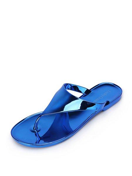 Blue Flat Heel Casual Flip Flop Slippers