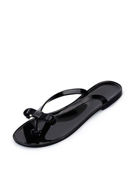 Black Casual Bowknot Flat Heel Flip Flop Slippers