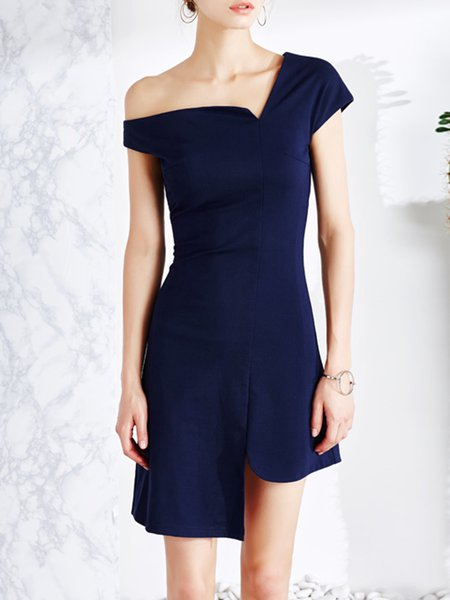 Navy Blue Asymmetric Bodycon Short Sleeve Cotton Mini Dress