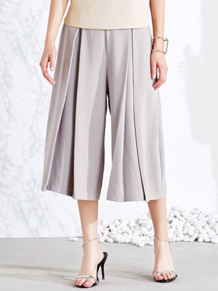 Gray Casual Pleated Wide Leg Cropped Pant