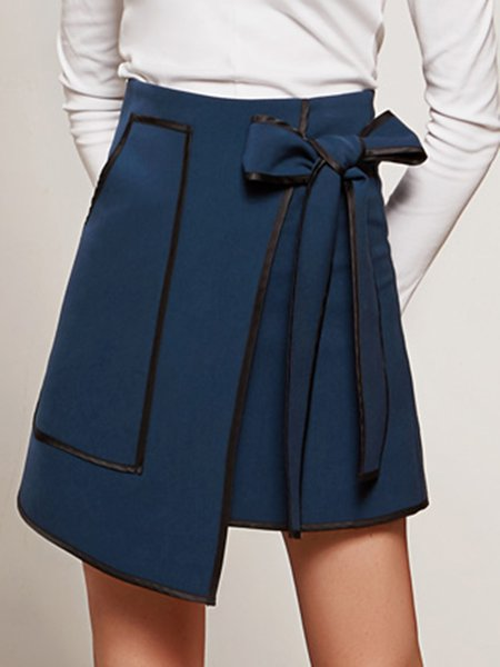 Navy Blue Asymmetrical Bow Casual Mini Skirt With Belt