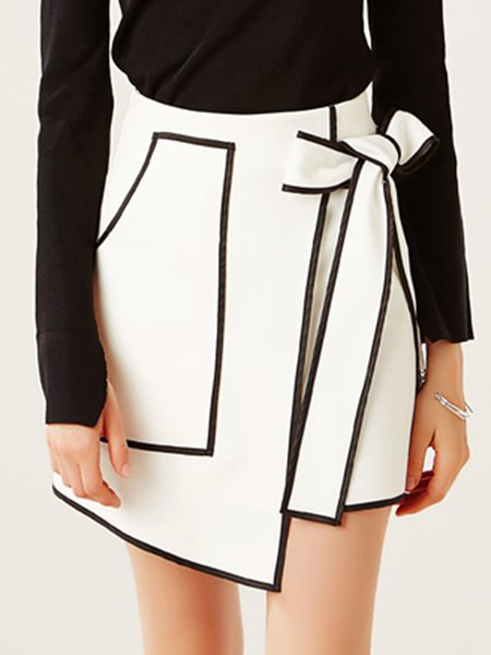 White Asymmetrical Casual Plain Mini Skirt With Belt - StyleWe.com