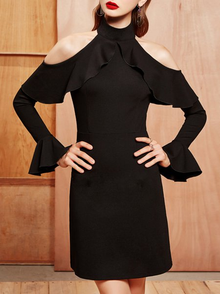 Black Elegant Ruffled Sheath Party Dress