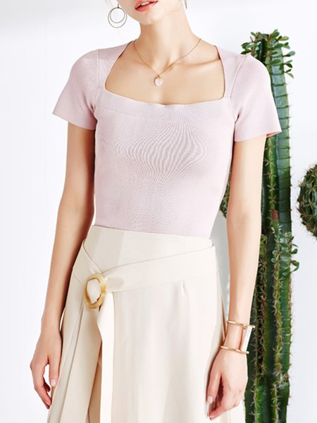 Pink Casual Knitted Short Sleeve Square Neck Sweater