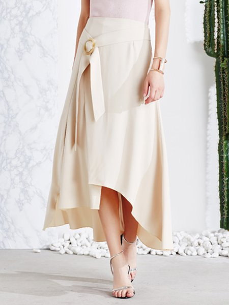Apricot Casual High Low Slit Maxi Skirt With Belt