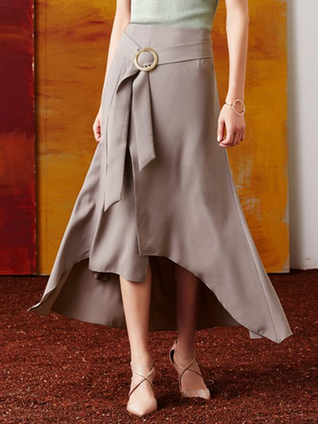 Light Gray Casual High Low Slit Maxi Skirt With Belt