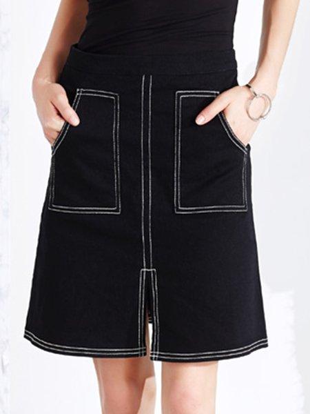 Black Slit Denim Casual A Line Mini Skirt