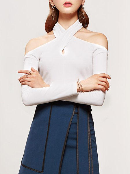 White Sexy Halter Off Shoulder Cutout Long Sleeved Top