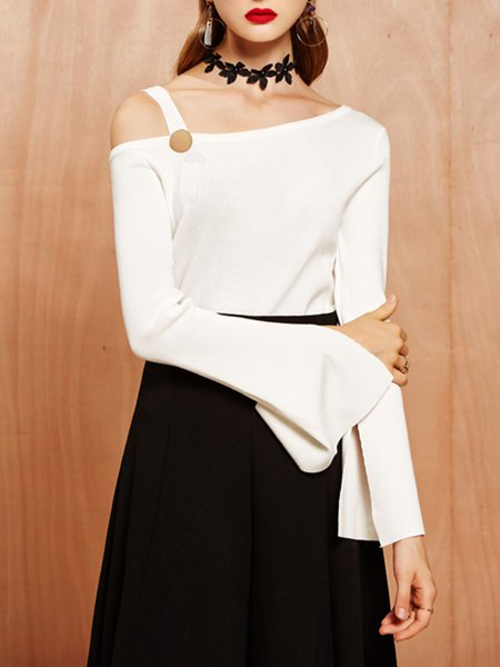 White One Shoulder Sexy Plain Buttoned Sweater